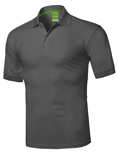 Youstar Solid Dri-Fit Active Athletic Golf Short Sleeves Polo Shirt Charcoal S