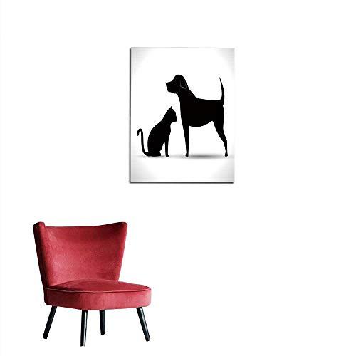 longbuyer Corridor/Indoor/Living Room Silhouette Dog and cat pet icon Mural 24