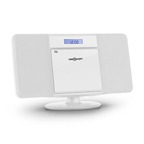 oneConcept V-13 Design Bluetooth Stereoanlage Küchenradio mit Vertikal CD-Spieler (MP3-fähiger CD-Player, USB-Slot, Uhr, Weckfunktion, Sleeptimer, FM-Radio, inkl. Fernbedienung, Wandmontage geeignet) weiß