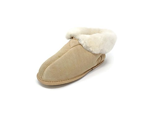 Women's Premium Genuine Australian Sheepskin Slippers Soft Sole Slip On Loafers Booties (Tan, X-Small)