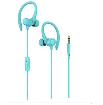 Wired Earphones, Noise Canceling in Ear Running Headphones with Over Ear Hook for Gym, Sports, Exercise (Blue)