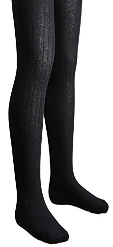 - Sportoli Girls Ribbed Cotton Hold and Stretch Footed Winter Tights - Black (size 12/14)