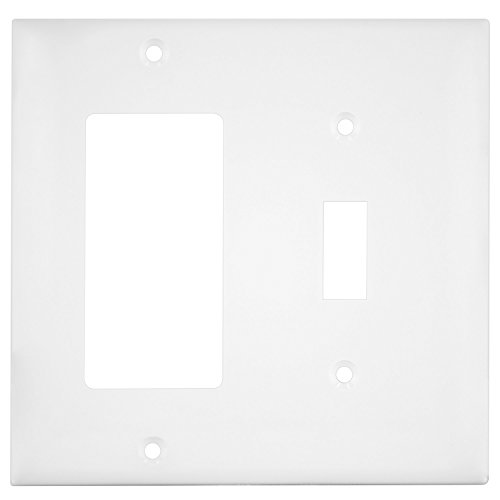 Enerlites 881131-W Decorator/Toggle Switch Wall Plate Combination, 2-Gang, White, Standard Size, Unbreakable Polycarbonate, Replacement Receptacle Faceplates Outlet Cover - Light Switch Outlet Cover Art