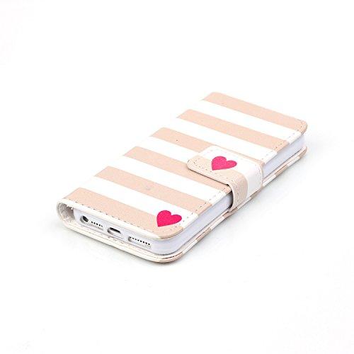 Custodia a portafoglio in vera pelle di alta qualità per iPhone SE, 5e 5S, con fessura portacarte, design creativo+ 1tappo anti polvere a fiore + 1penna stilo, Ecopelle Pelle, Three Owls, Apple iP Brown Stripe Love