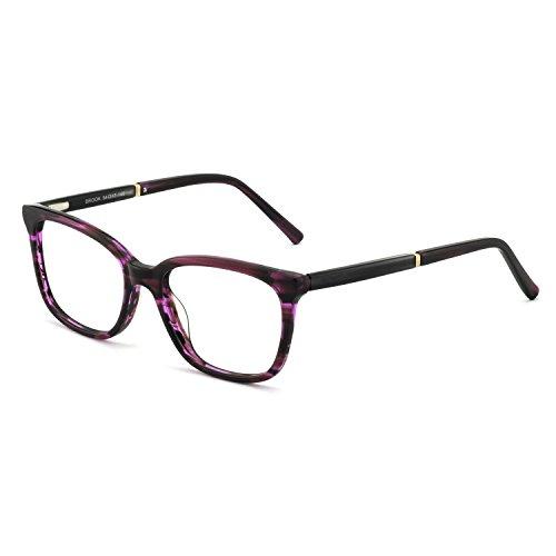 OCCI CHIARI Rectangular Stylish Acetate Frame Non-Prescription Fashion Clear Lens EyeGlasses For Women (Purple Red ()