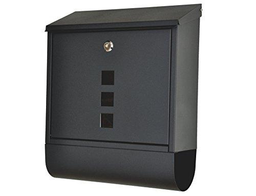 nanook Wandbriefkasten schwarz - pulverbeschichtet - mit Zeitungsfach - 38,5 cm - für große Briefe und Zeitschriften