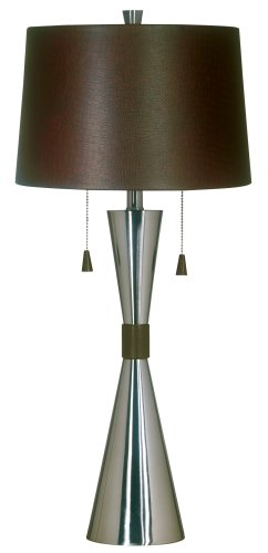 Kenroy Home 02371 Bella Table Lamp, Brushed Steel Finish/Choc Faux ()
