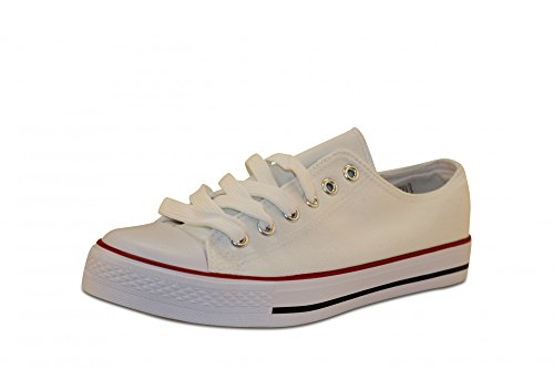 Mixmatch24 Damen Canvas Leinwand Sneaker Basic Low in verschiedenen Farben - Zapatos de cordones de lona para mujer Bleach