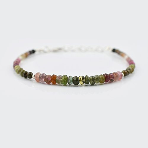 Dainty Watermelon Tourmaline Beads Bracelet for women with 925 Silver Findings 6.50