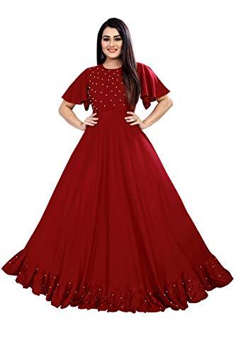 4JSTAR Women's Ruffle Moti Stone Anarkali Maxi Gown (Red, Maroon, Medium)