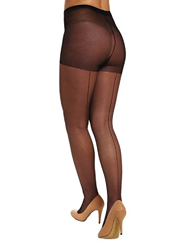 Pretty Polly Women's Nylons 10 Denier Backseam Gloss Tights Black Pantyhose (Polly Sheer Pretty)