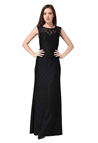Buenos Ninos Women's Sleeveless Deep-V Back Bridesmaid Gown Halter Lace Maxi Dress Black XXL ()