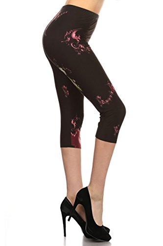 (R757-CA-PLUS Liquid Art Capri Print Leggings)