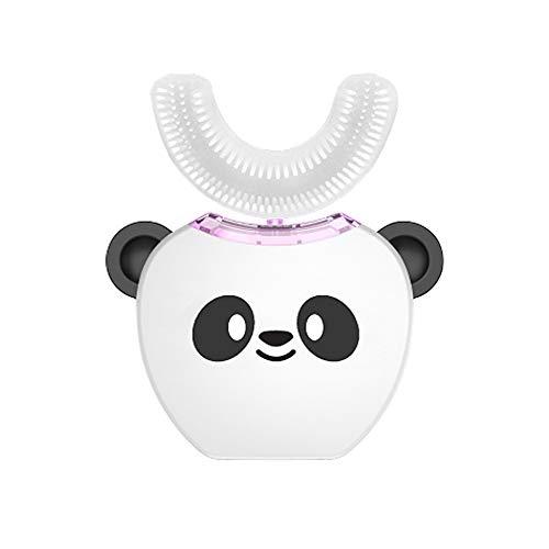 SUNLMG Cepillo de Dientes eléctrico automático en Forma de U de para niño pequeño con la Boca Linda,White