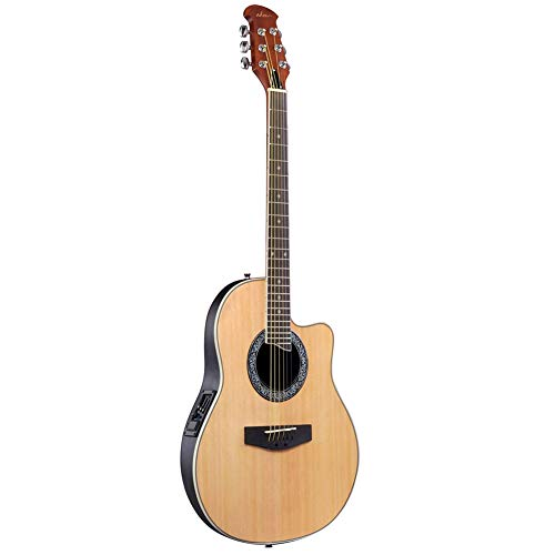 ADM Full Size Acoustic Electric Cutaway Guitar, Round Back Round Hole with 4-Band EQ, Natural
