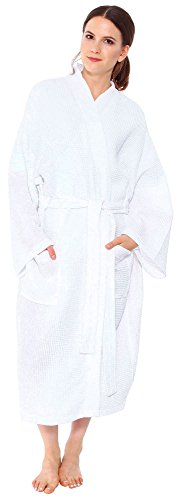 Buy mens waffle dressing gown white - 1