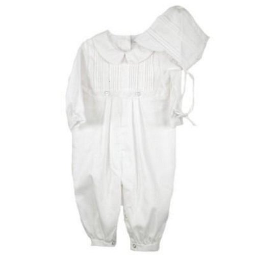 Cotton Christening Baptims Pique Longall with Tucks and Embroidery and Hat (24 Month/White)