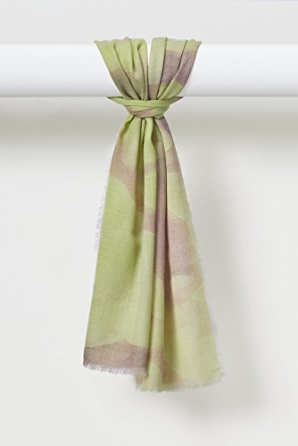 Louis Jane Watercolors Organic Fine Weave Wool Scarf in Spring Greens by Louis Jane  (''Where Nature Meets Art''TM)