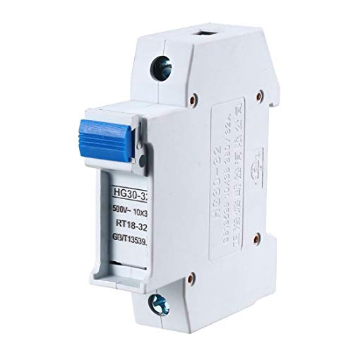 uxcell DIN Rail Mount Fuse Holder Single Pole HG30-32 10mmx38mm 380V 32A Fuse Included Gray ()