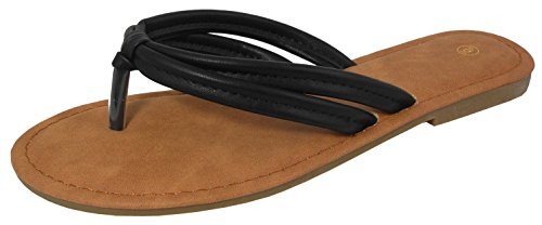 Cambridge Select Dames Double-strap Knoop String Flip-flop Slip-on Platte Schuif Sandaal Zwart