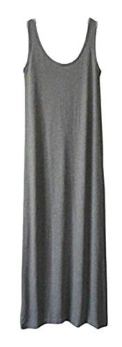 Cromoncent Femmes Confort Drapé Extensible Réservoir De Couleur Unie Robes Longues Gris Foncé