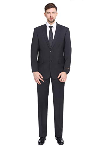 (P&L Men's 2-Piece Classic Fit 2 Button Office Dress Suit Jacket Blazer & Pleated Pants Set Charcoal)