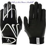 Nike Swingman Black/White Premium Goat Leather Palm Baseball Little League Batting Glove, Youth Small