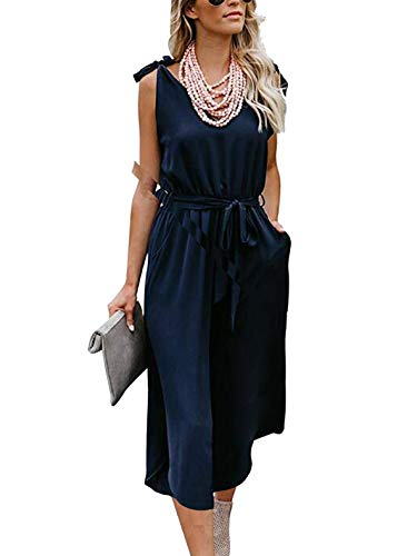 ANRABESS Women's Casual Summer Tank Sleeveless V Neck Elastic Waistband Knee Length Sun Dresses with Pockets lanse-XL WFF02 - Waistband V-neck