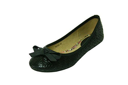 Leather Shoes Flats Woven black Womens Slip On 06 Shoelace Faux Ballerina WBfanF