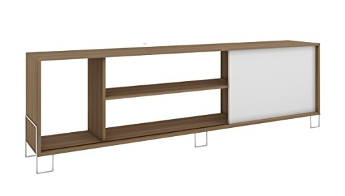 Manhattan Comfort Nacka TV Stand 1.0 Collection Modern Free Standing Flat Screen TV Stand with Storage Compartments Includes 5 Shelves and 1 Sliding Door, Oak Frame with White Door and Base
