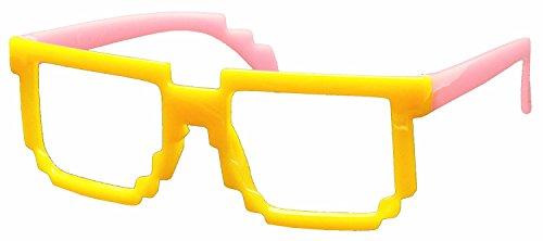 FancyG® Retro Classic 8-Bit Pixel Geek Gamer Pixelated Glass Frame for Kids NO LENS - Yellow Pink (Cute Girl Nerd Costumes Halloween)