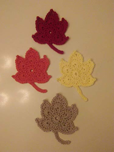 Crocheted Fall Maple Leaf Coasters - Set of 4 (Handmade Crocheted Stocking)