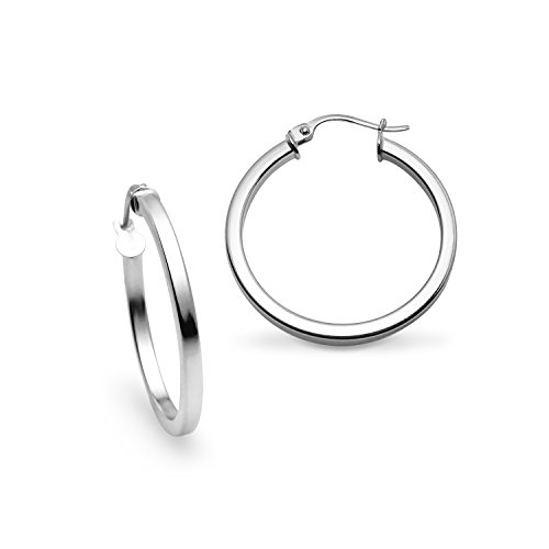 - Sterling Silver Polished 2x25mm Square Tube Hoop Earrings