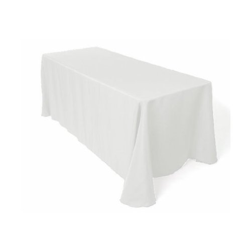 LinenTablecloth Rectangular Economy Polyester Tablecloth, 90 by 132-Inch, White
