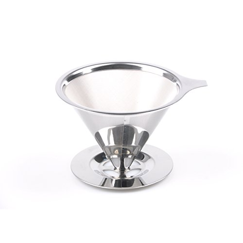 Pour Over Coffee Filter, Reusable Cone Mesh Coffee Dripper with Base Stand, 2-4 Cups for Home Travel stainless steel silver, by LC Prime by LC Prime