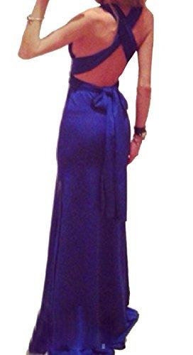 Sexy Slip Backless V Deep Blue Women Dresses Out Cross Neck Coolred Clubk Cut q56Fwx