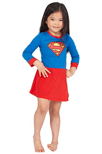 Supergirl Girls' Toddler Flyaway Superhero Costume Pajama Nightgown, Multi, 2T]()