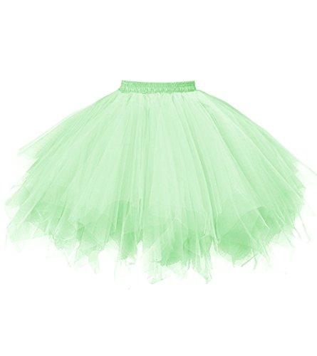 Dresstore Women's Short Vintage Petticoat Skirt Ballet Bubble Tutu Multi-colored Light Green ()