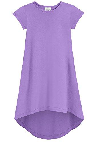 City Threads Girls Jersey Short Sleeve Hi Lo Maxi Dress Top Blouse Shirt Stylish Modern All Cotton for Sensitive Skins, Deep Purple, 7