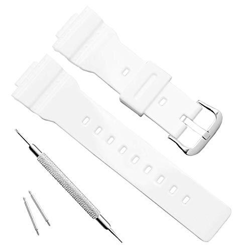 Waterproof Natural Resin Replacement Watch Band for Casio Women's BA-111 BA-110 BA-112 BA-120 BA-125 Baby-G Analog-Digital (White)