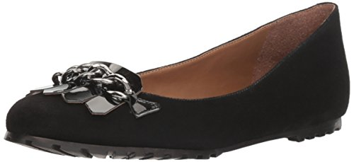 French Suede Flats Sole (French Sole FS/NY Women's Sunshine Ballet Flat, Black Suede, 9 M US)