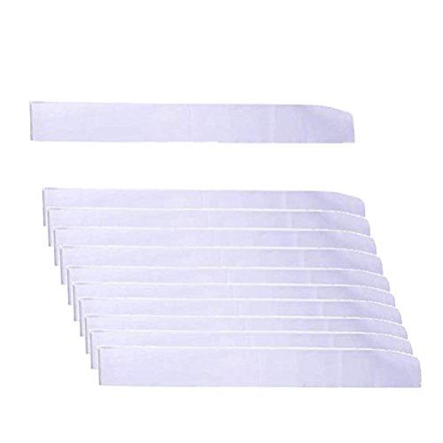 LIGONG 10 Pcs Blank Sashes Plain Sashes for Party Decoration, DIY Accessory, Homecoming, Wedding, 9.5cm x 78cm (White) -