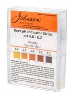 JOHNSON BEER pH INDICATOR STRIPS (pH 4.6-6.2) HOMEBREW 182.1