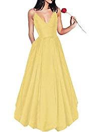 5daaf80fb8 Long Spaghetti Straps V-Neck Satin A-line Prom Dress with Pockets