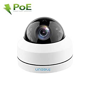 Inesun Outdoor Security PTZ PoE IP Camera 2MP 4X Optical Zoom Autofocus IK10 Vandal-Proof Dome Camera IP66 Waterproof 100ft IR Night Vision