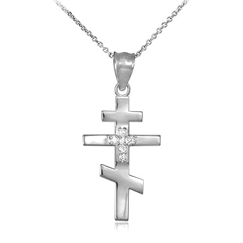 (925 Sterling Silver CZ Studded Russian Orthodox Cross Pendant Necklace, 16