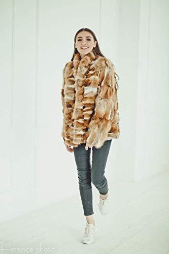 Red fox fur short coat Fur jacket for women- Winter - Fox Rabbit Mink