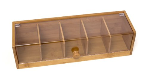 (Lipper International 8187 Bamboo Wood and Acrylic Tea Box with 5 Sections, 14