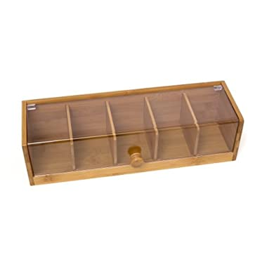 Lipper International Bamboo and Acrylic Tea Box with 5 Sections