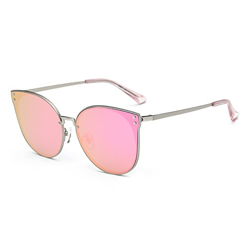 DONNA Trendy Oversized Mirrored Sunglasses Cat Eye Frame Circle Lens Hippie Hipster Style - Eyeglasses For Heads Big